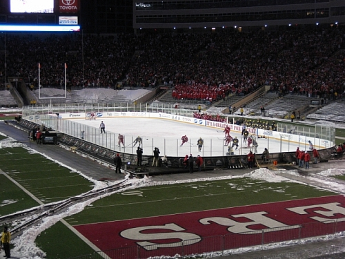 A shot of the rink from the stands