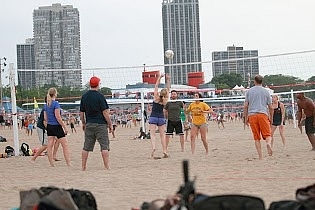 Summer Beach Volleyball in Chicago
