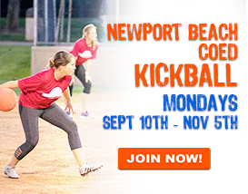 Join our Monday Night Adult Kickball League!