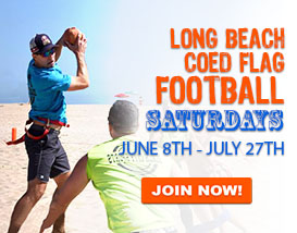 Join our only weekend beach flag football league this summer!