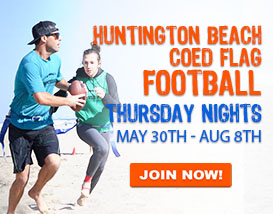 Join our Thursday Night Beach Flag Football in Huntington!