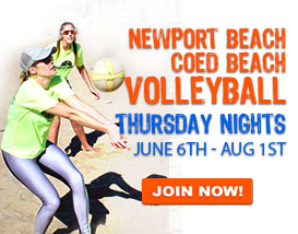 Join our Thursday Night Beach Volleyball League in Newport Beach!