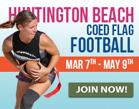 Join our Saturday flag football league in Huntington Beach!