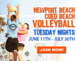Join our Tuesday Beach VOLLEYBALL in Newport Beach